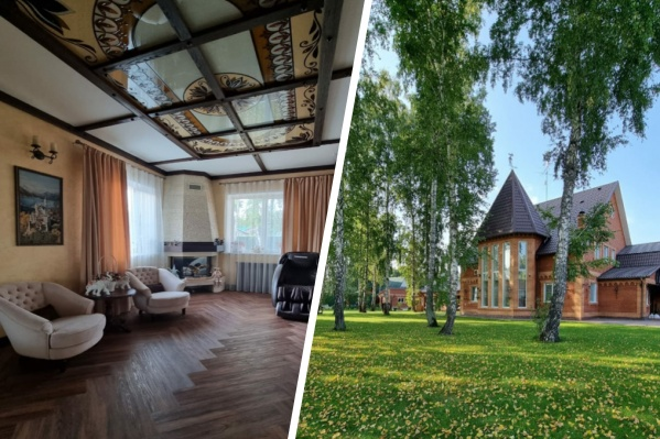 Дом занимает 420 кв. м и продается вместе с большим участком (25 соток), гаражом и домом отдыха с баней