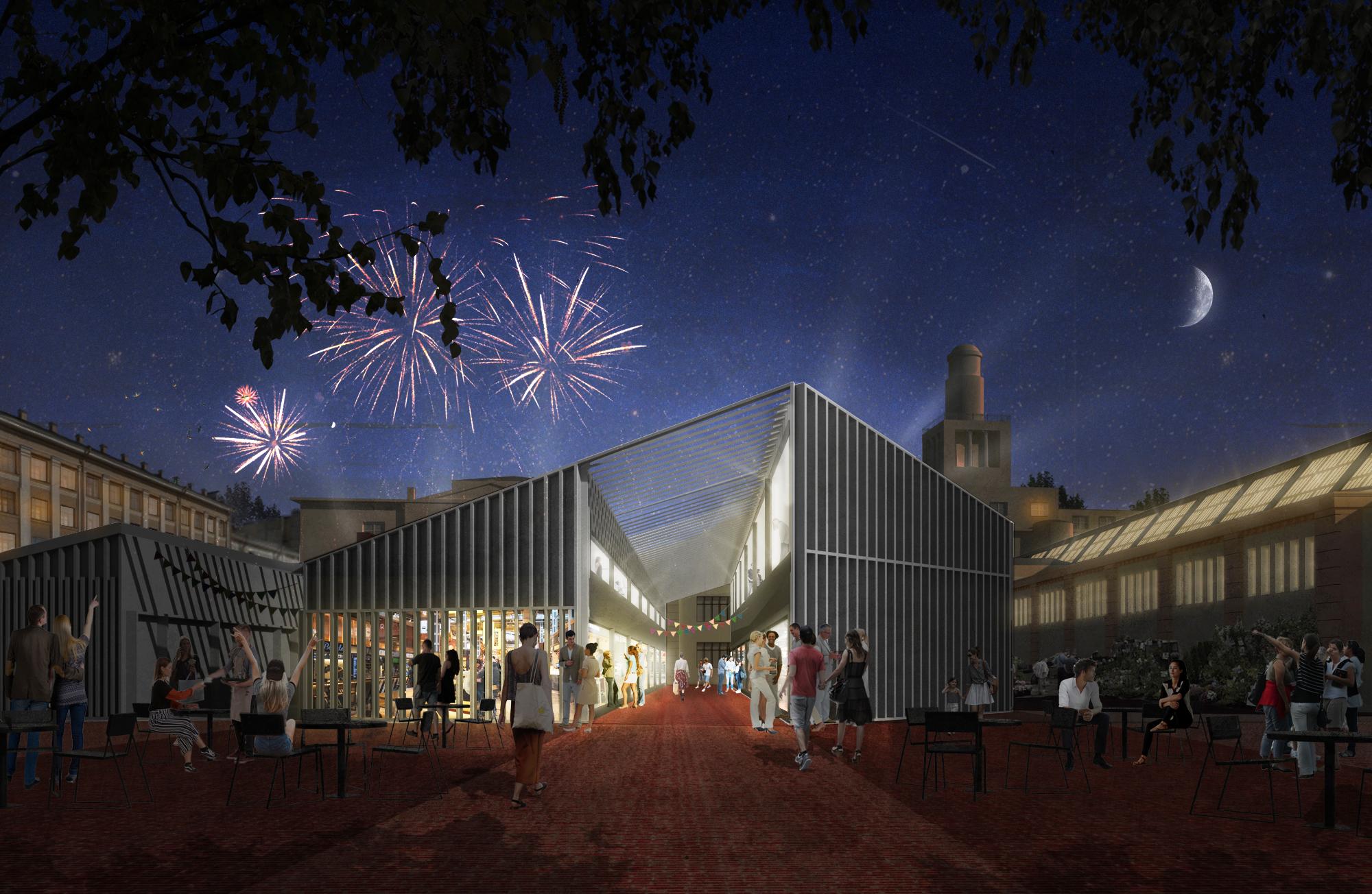 Вечерний вид с рыночной площади на новое здание