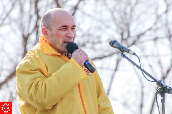 Алексей Кувакин на одном из митингов против полигона на Шиесе