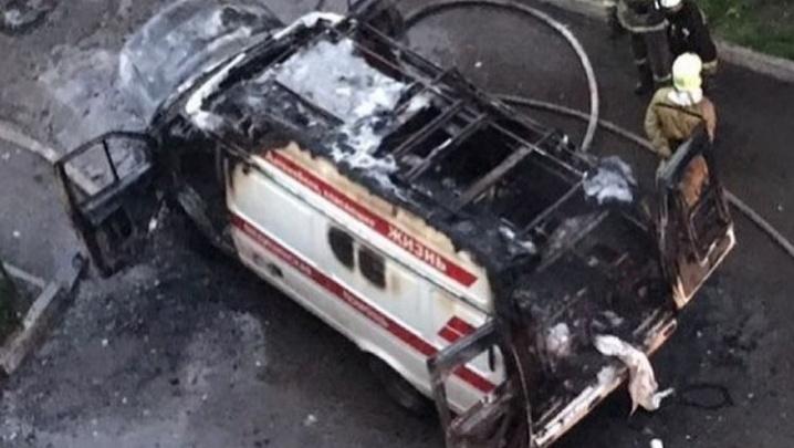 В красноярской Ветлужанке сгорела машина скорой помощи