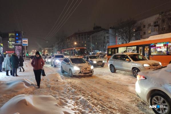 15 февраля город опять замер в 10-балльных пробках