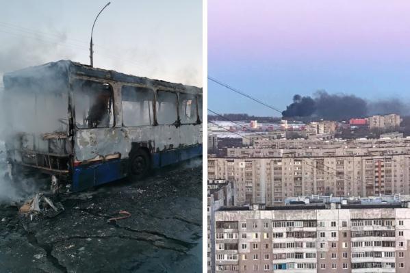 Пожар случился в автопарке предприятия