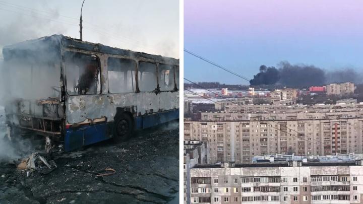 «Уничтожен»: в Ярославле загорелся пассажирский автобус