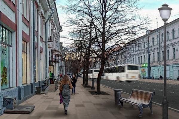 Вот такой хотят сделать Комсомольскую улицу в Ярославле