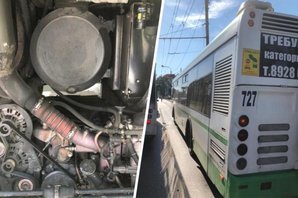 У автобуса перегрелся двигатель