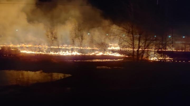 У тюменской объездной сгорело поле