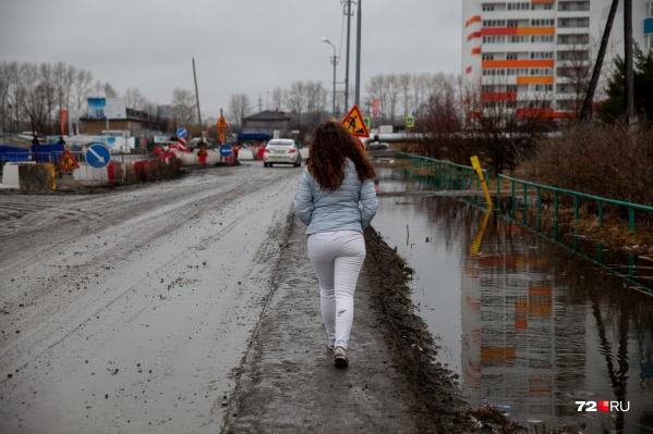 Вариантов, как обойди всю эту грязь, немного — можно топать по проезжей части, либо шлепать по луже, или идти, как я, Маша Токмакова, по грязевой дорожке