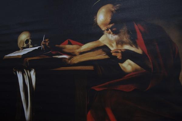 Репродукция картины Караваджо «Пишущий Святой Иероним», поздний ренессанс 1607–1608 года