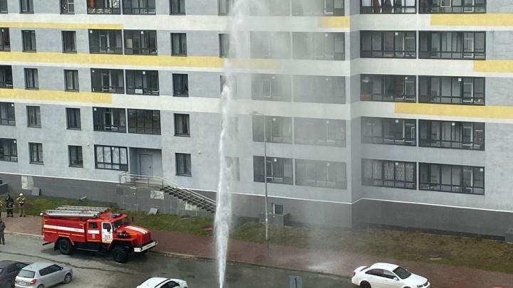 В Екатеринбурге забил ледяной фонтан на семь этажей