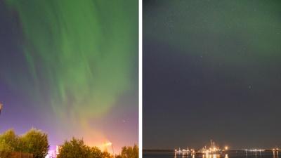 Сезон открыт: смотрим на яркое северное сияние над Архангельском и Северодвинском