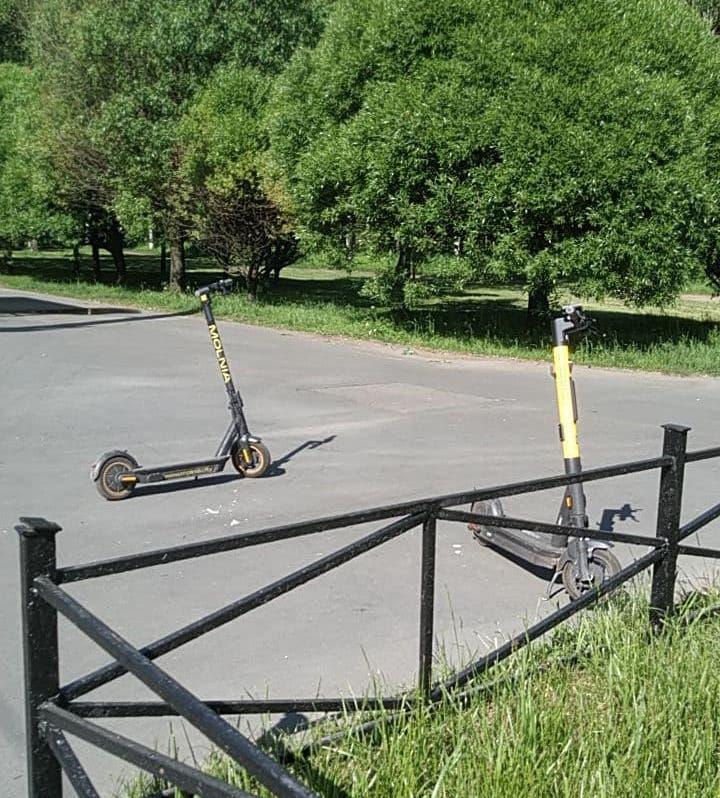 Самокаты заметили утром 9 июня у парка Сосновка.