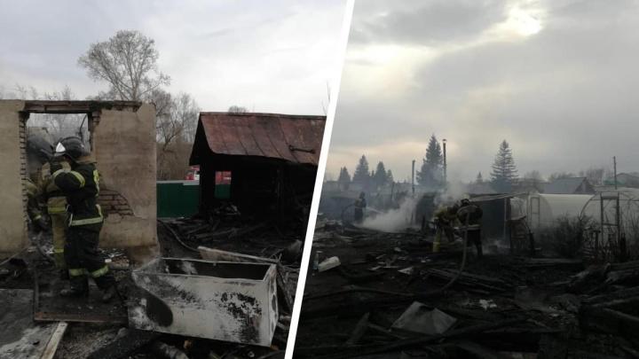 Под Новосибирском загорелись дачные домики. Экстренные службы уже получили больше 200 сообщений о пожарах