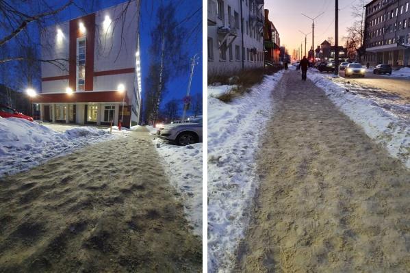 Слева — тротуар у здания прокуратуры города, справа — по улице Попова