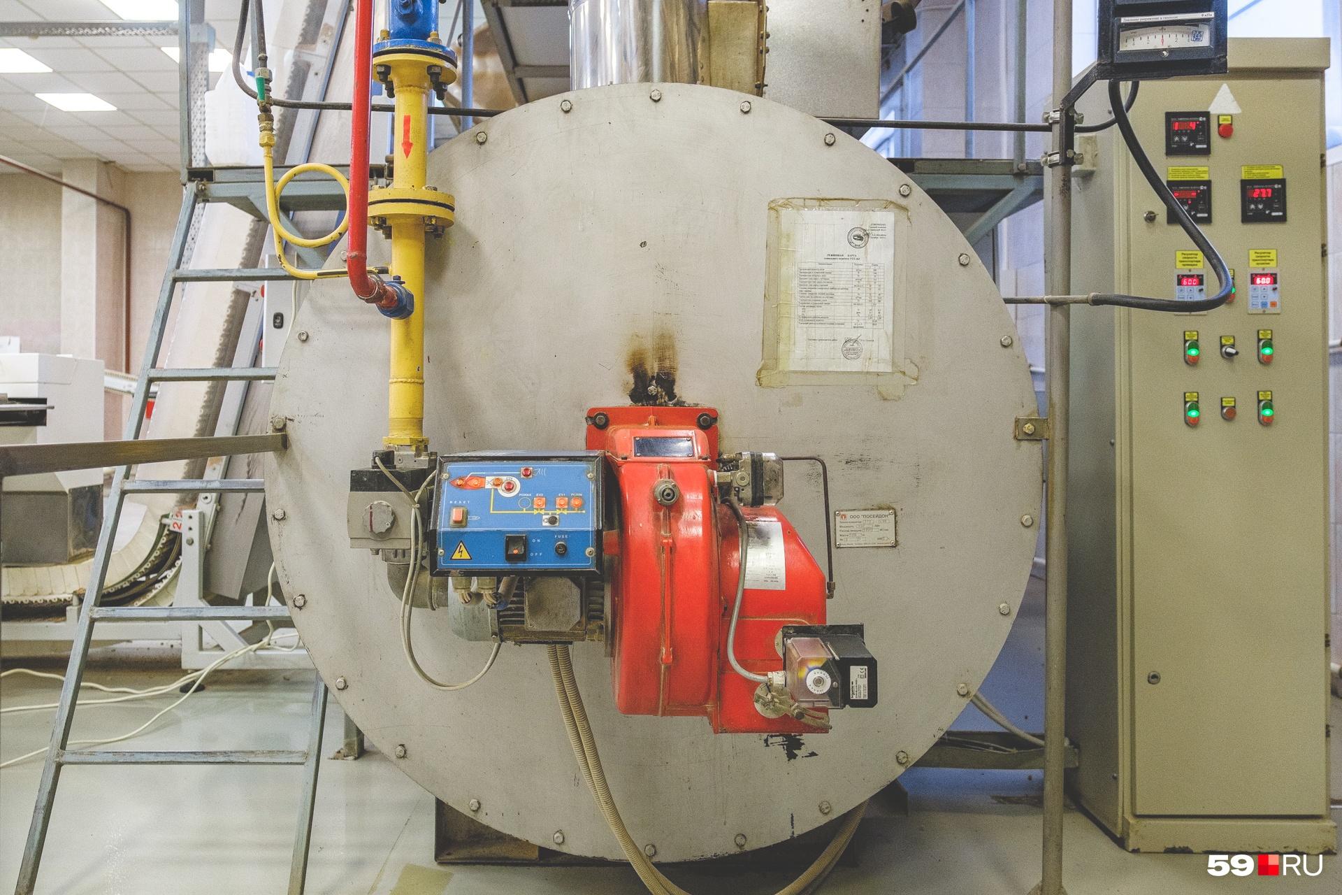 Печь работает на газовом оборудовании