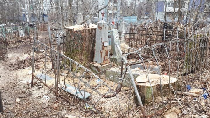 После спила тополей на кладбище Архангельска нашли разрушенные могилы и погнутые оградки