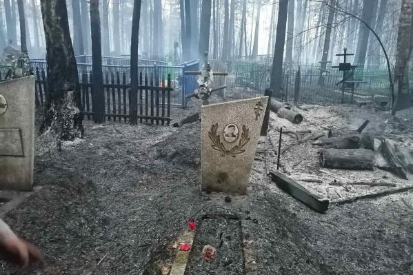 Поселковое кладбище, по которому недавно прошел огонь<br>