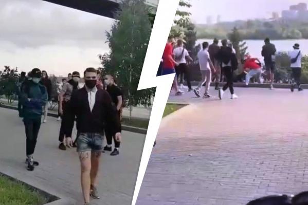 Люди в масках оскорбили молодого человека, а затем начали его бить