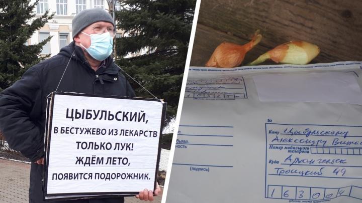 Автор плакатов про тяжелобольную медицину отправил губернатору Цыбульскому посылку с луком