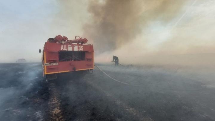 Работают МЧС, лесники и добровольцы: под Волгоградом тушат крупный пожар в степи
