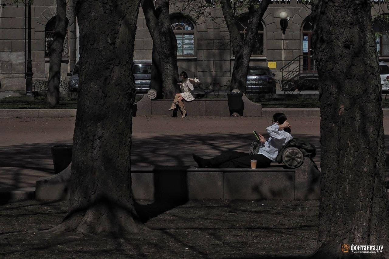 Отдохнули Теперь можно и погреться. В последний день весны погода в Петербурге берёт курс на лето
