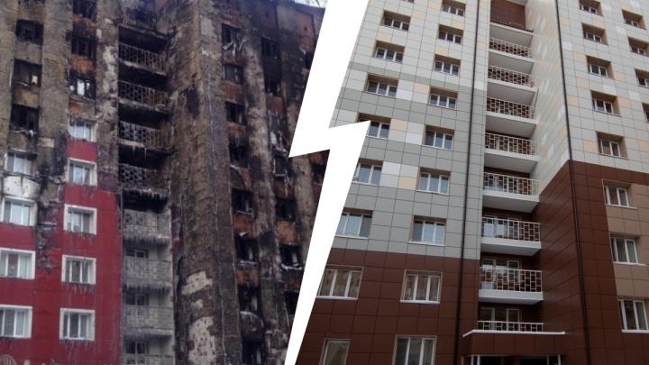 Оранжевые подъезды с надписями на стенах: как выглядит дом на Олимпийской спустя три года после пожара