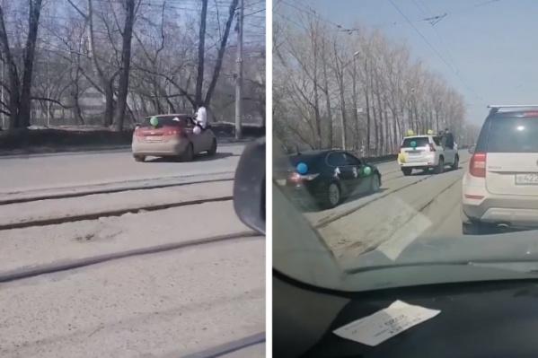 Кортеж попал на видео возмущенных новосибирцев