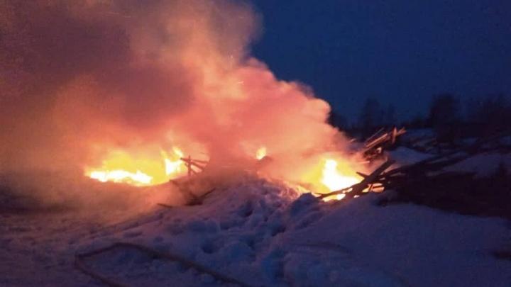 Под Красноярском загорелась свалка отходов лесопиления