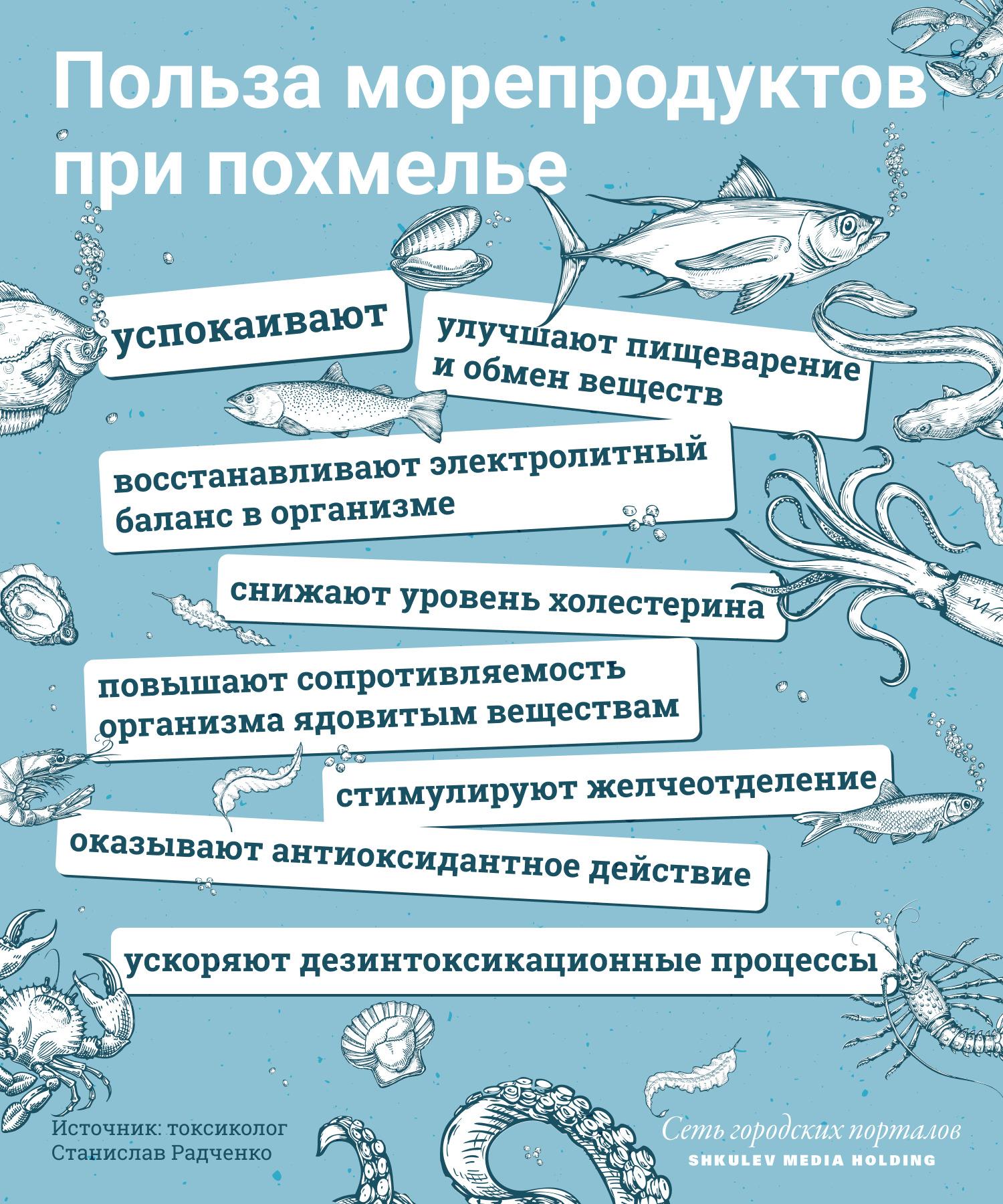 Чем могут помочь морепродукты в случае похмелья