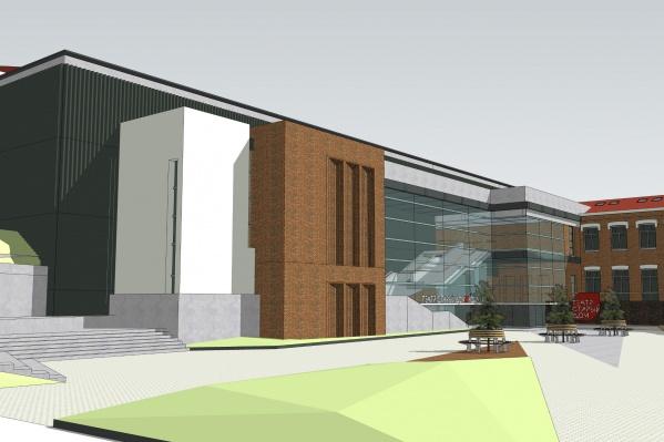 Новое здание пристроят к уже существующему: в углу на стыке зданий будет главный вход и терраса, где можно будет проводить мероприятия