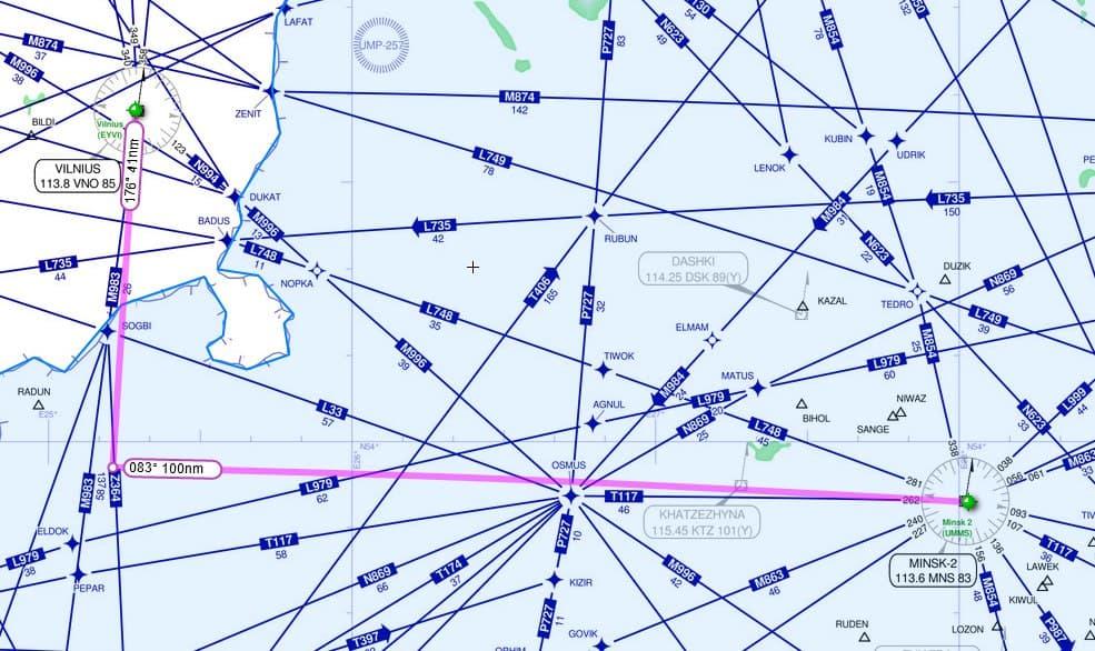 Расстояние в морских милях до аэропортов Вильнюса и Минска в точке разворота самолёта Ryanair 23 мая 2021 года