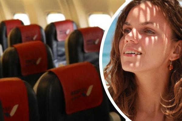 Анна впервые летела одна в гигантском самолете
