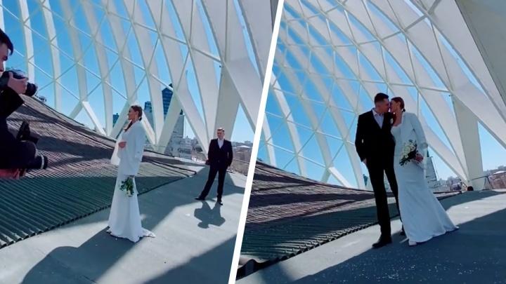 В Екатеринбурге молодожены устроили свадебные фотосессии на крыше цирка. Видео