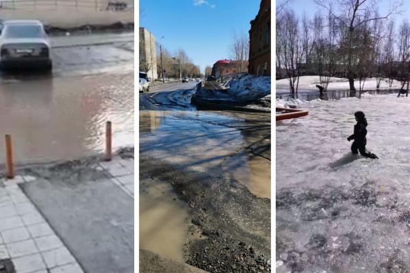 Активно тающий снег затопил город