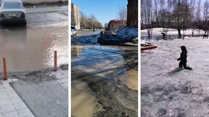 Лужи по колено: собираем карту самых глубоких весенних «водоемов» Новосибирска (присылайте свои фото)