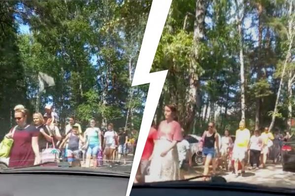 Толпа шла вдоль дороги