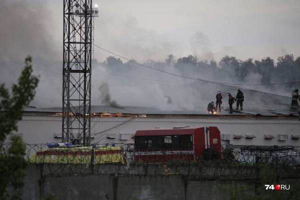 """По предварительным данным, площадь пожара составила около <nobr class=""""_"""">4 тысяч квадратных</nobr> метров"""