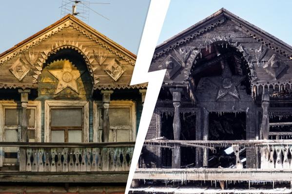 """Пожар в красивом деревянном доме произошел ночью <nobr class=""""_"""">25 февраля</nobr> этого года. По предварительным данным, причиной возгорания стал поджог"""