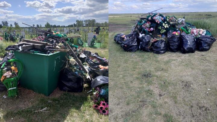 На кладбище в Омской области скопились горы мусора, но в «Магнит» никто не обратился
