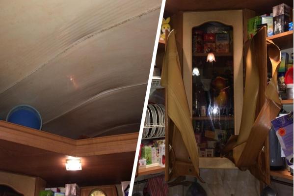 Из-за высокой температуры испортились мебель и потолок