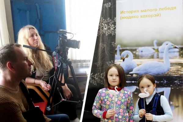 """Слева — британка Саша Денч собирает фактуру для фильма, который скоро выйдет. <nobr class=""""_"""">Справа —</nobr> один из уроков в НАО о сохранении птиц по проекту«Лебединый защитник»"""