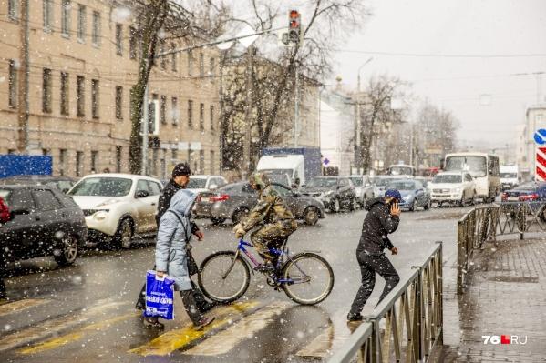 После аномальной жары в Ярославле резко похолодало и пошел снег
