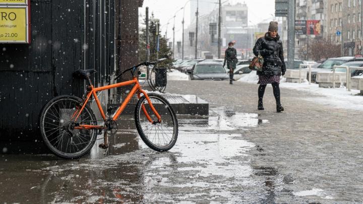 Весенний снегопад сделал из Новосибирска огромную грязную лужу: 15фото того, что натворила непогода