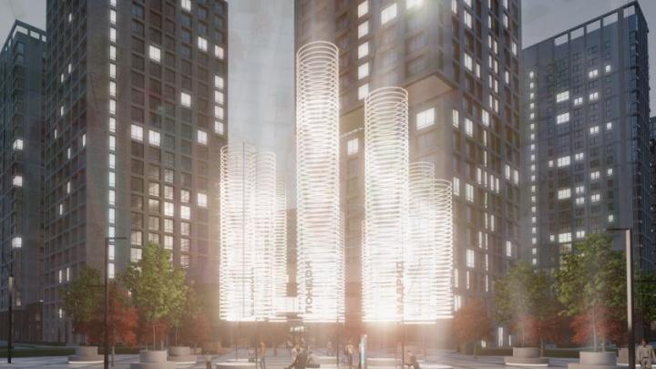 В Юго-Западном районе поставят гигантские светящиеся башни. Показываем, как они выглядят