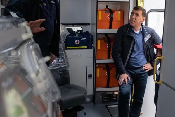 Сегодня Евгений Куйвашев принимал новые реанимационные машины