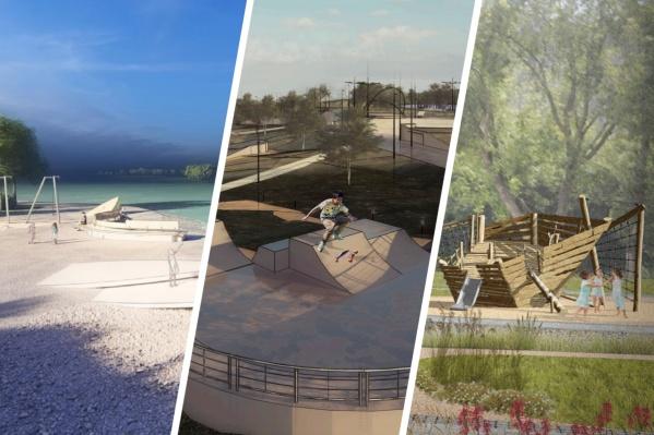 Енисей с бирюзовой водой, скейт-парк и корабли показали в мэрии на эскизах
