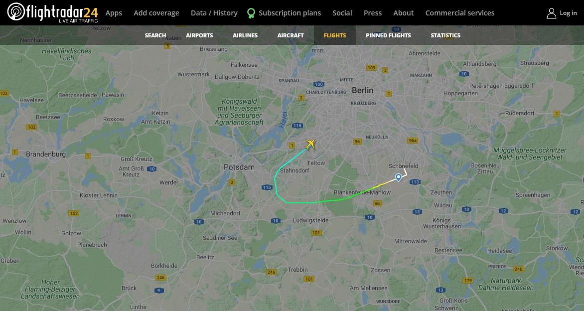 Скриншот сайтаhttps://www.flightradar24.com