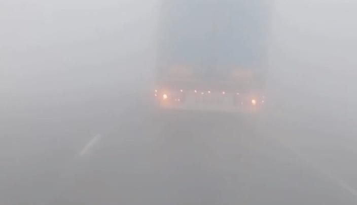 Федеральную трассу под Ишимом заволокло дымом: видимость всего 50 метров