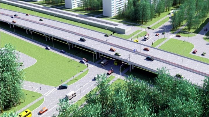 Объездную дорогу в Екатеринбурге поднимут над улицей Амундсена. Публикуем проект развязки