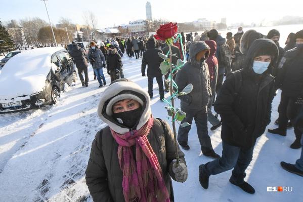 Анна Пастухова 23 января вышла на акцию в поддержку Алексея Навального с розой