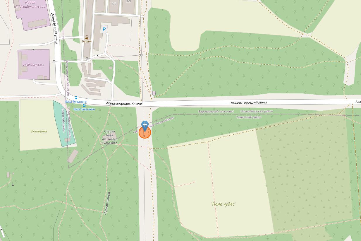На карте отмечено место, где проводились работы